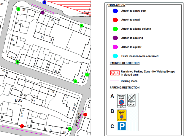 Extract from East Wichel parking restriction map
