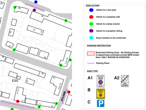 Revised parking proposals map