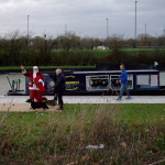 Santa arrives in Wichelstowe, courtesy of the Wilts and Berks Canal Trust's narrowboat 'Dragonfly'.