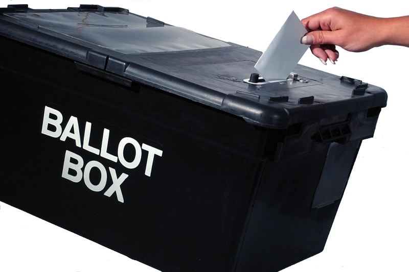 Ballot box with vote being cast