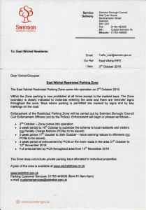 Letter from Swindon Borough Council about parking restrictions