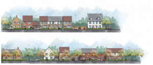 Street scene of Taylor Wimpey Ambrose Field proposal