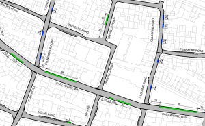 Map of restricted parking zone
