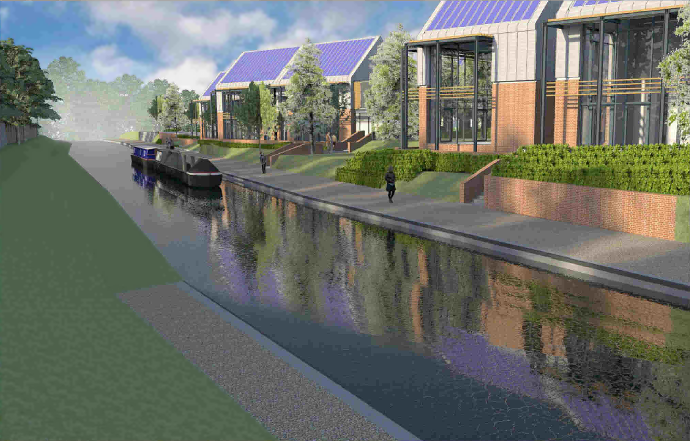Artist impression of canal and office development