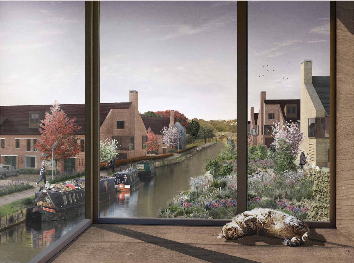 View of canal through window with sleeping cat