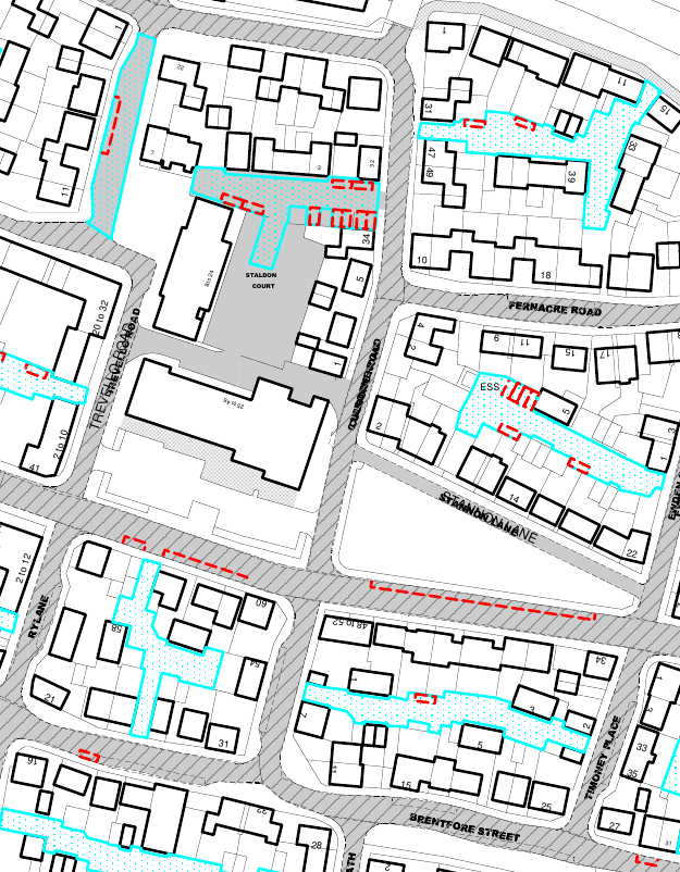 Map of changes to parking restrictions in East Wichel.