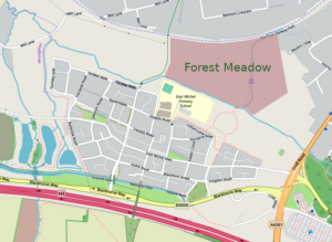 Map of East Wichel showing Forest Meadow location