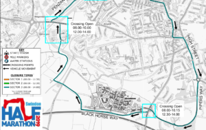 Map showing road closures around Wichelstowe